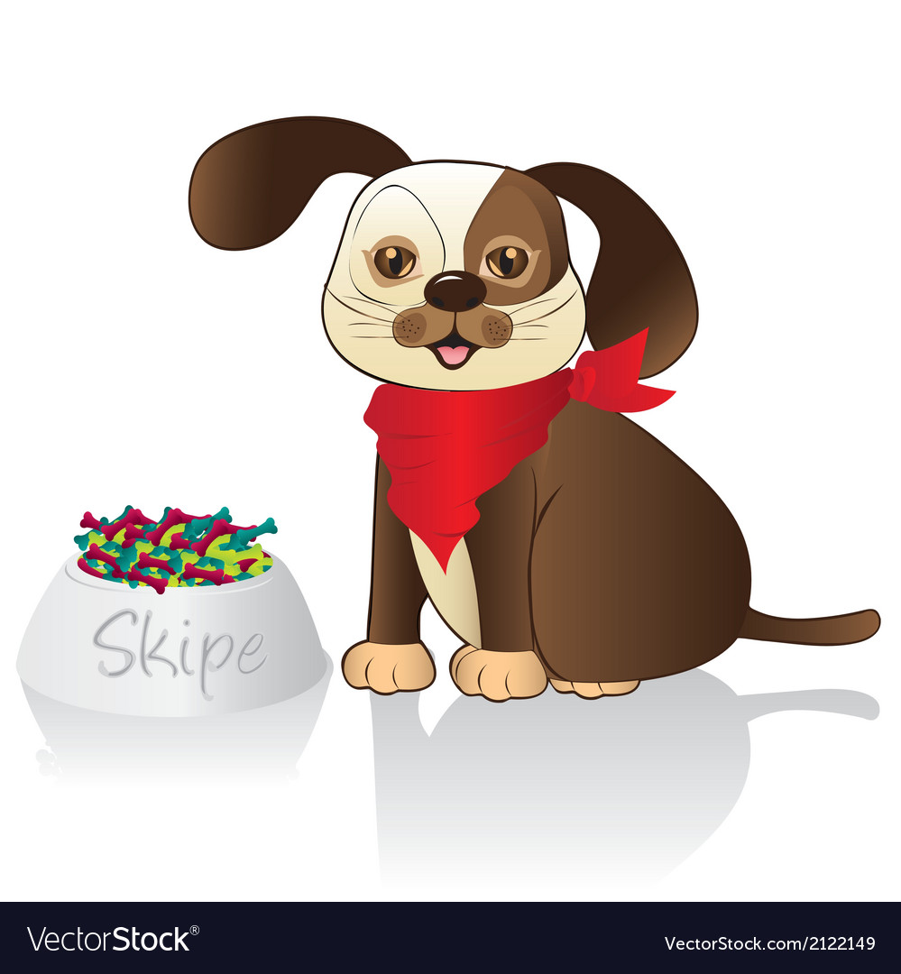 Brown dog with red scarf and food container issola vector