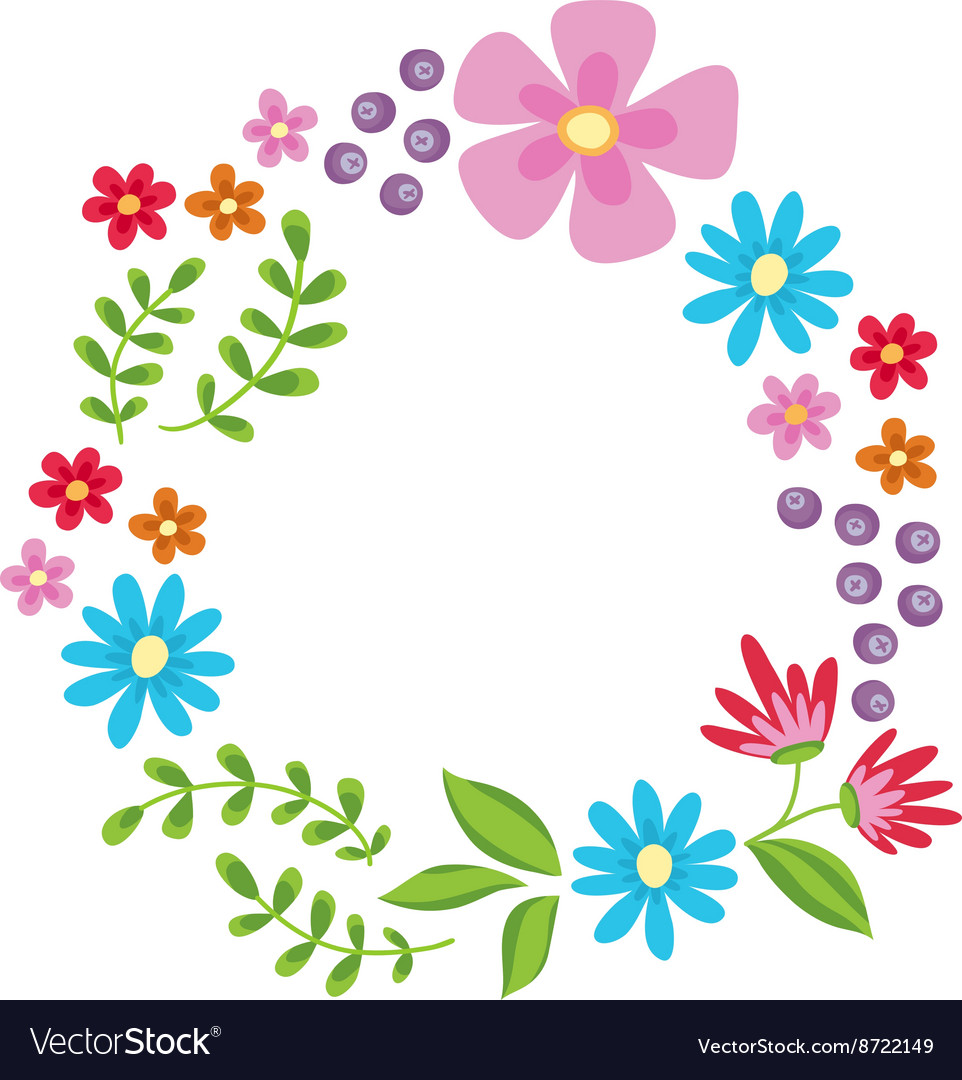 Floral frame cute retro flowers wreath vector