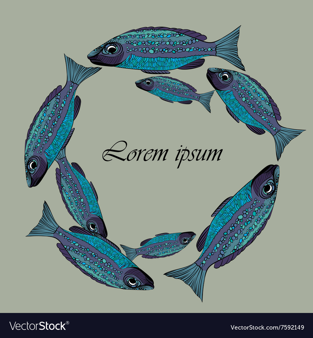 Frame with blue fishes school of fish vector