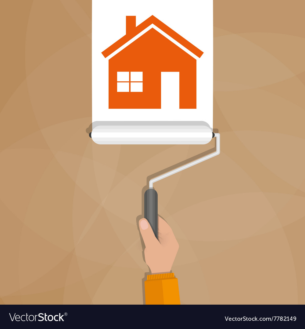 Paint roller with hand painting house vector