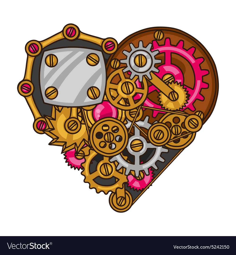 Steampunk heart collage of metal gears in doodle vector