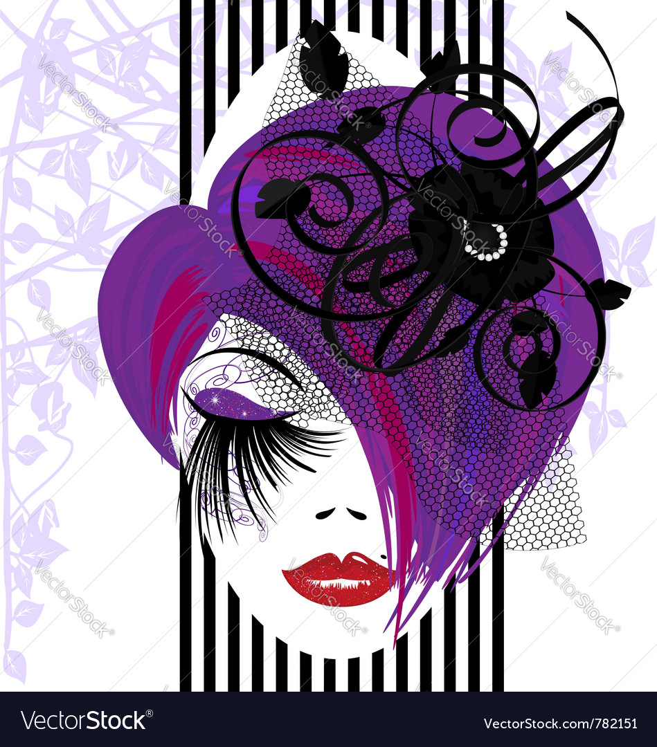 Abstract purplehaired dame vector