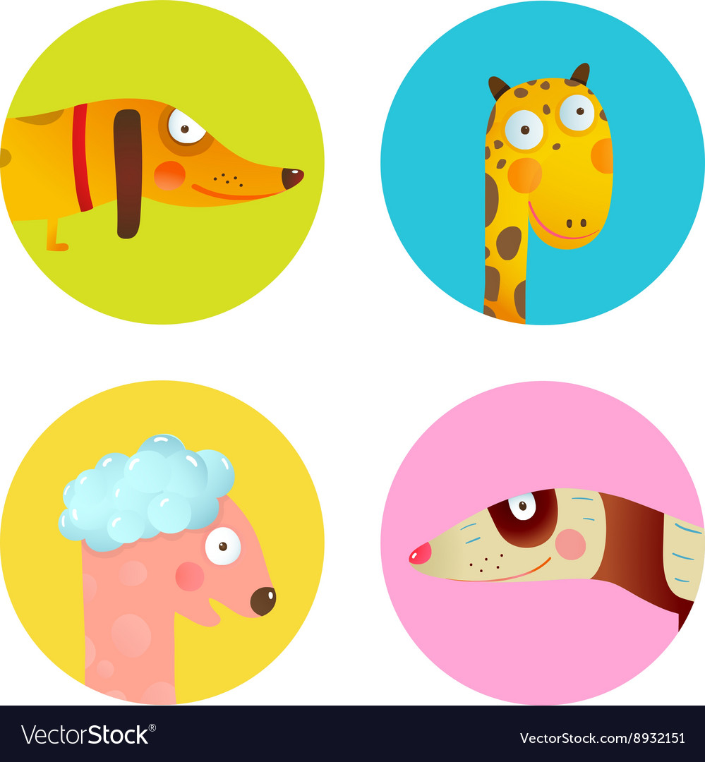 Fun cartoon baby animals icons collection set for vector