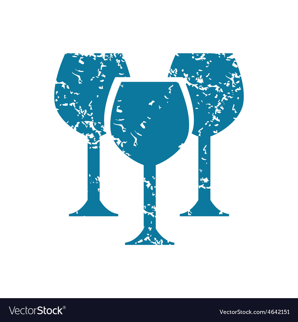 Grunge wine glass icon vector