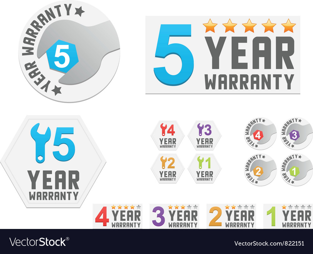 Set of warranty stickers vector