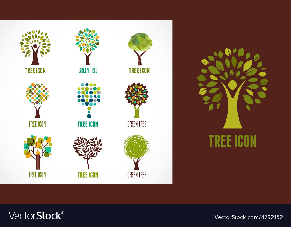 Collection of green tree  logos and icons vector