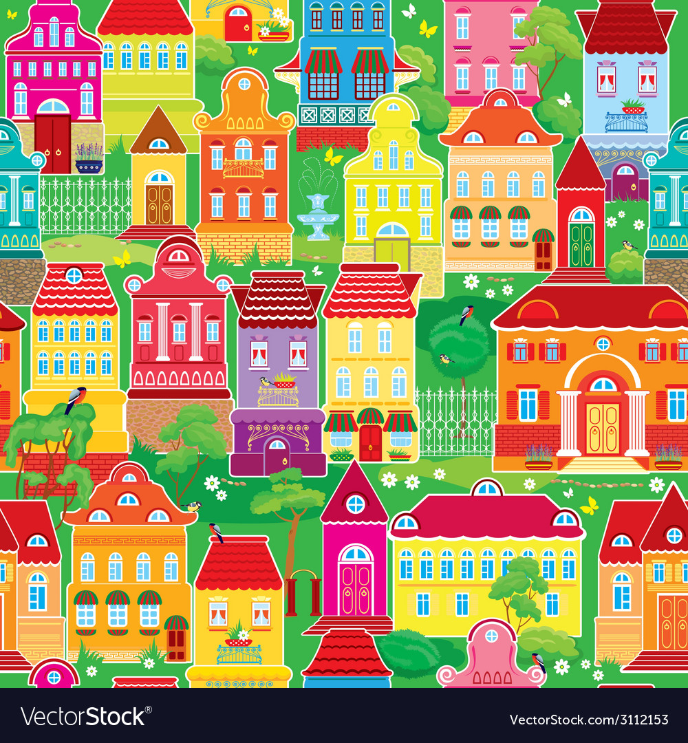 Seamless pattern with decorative colorful houses s vector