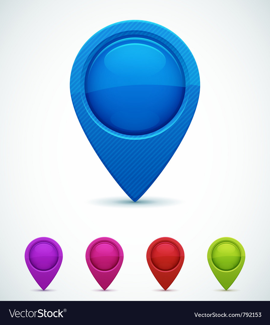 Set of colorful map markers vector