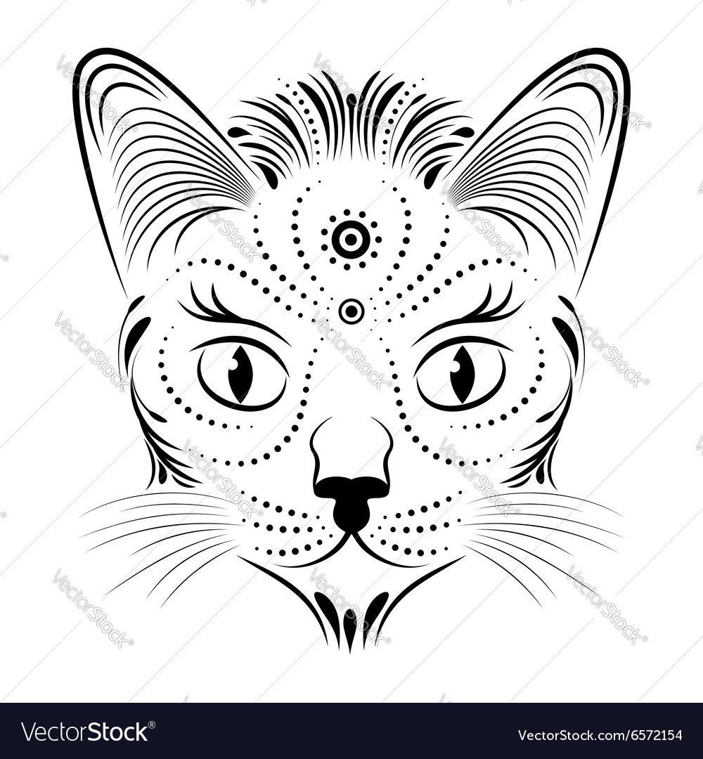 Abstract cat head vector