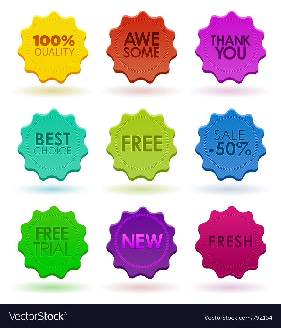 Colored badges vector