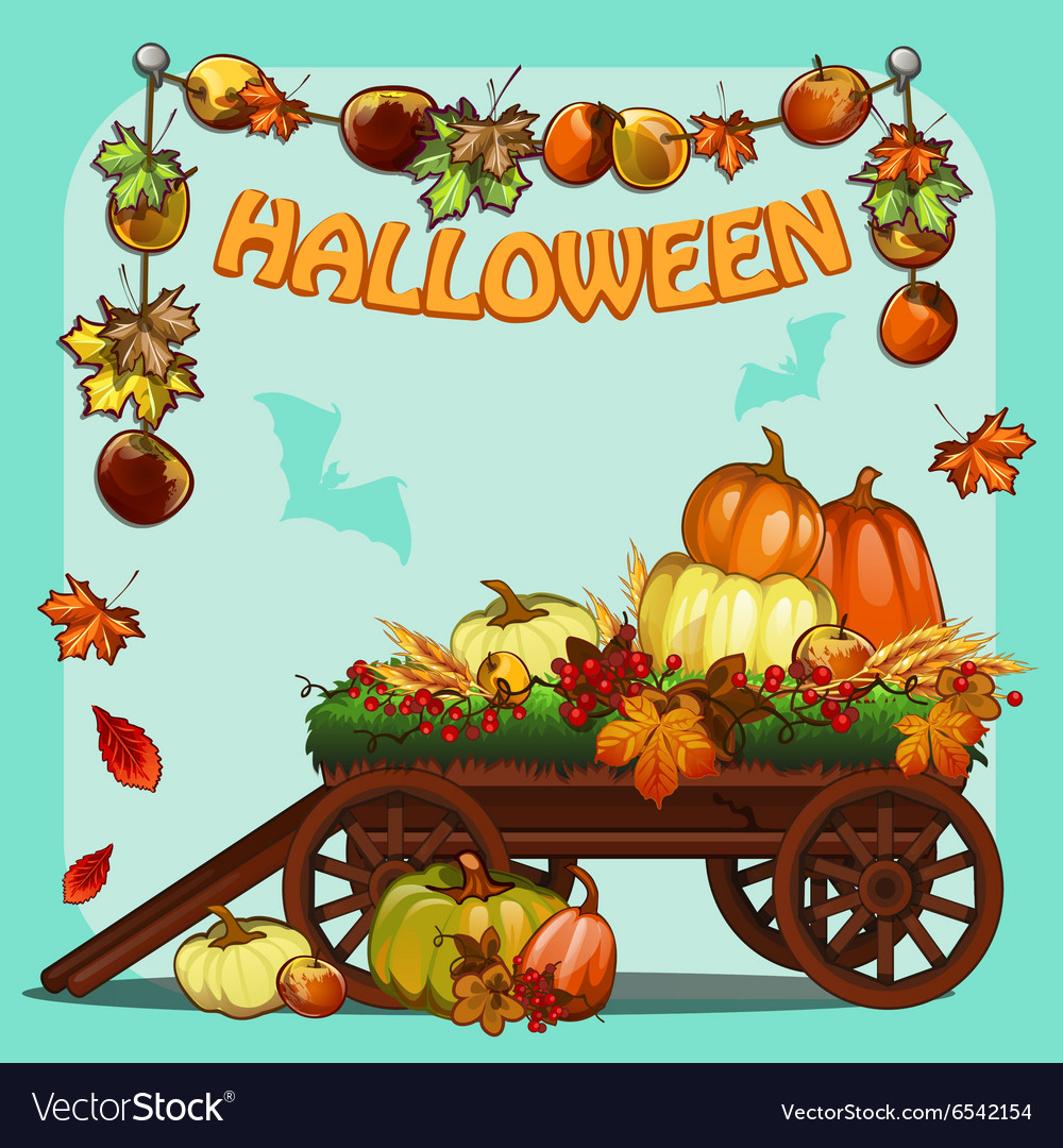 Wagon with pumpkins for halloween vector