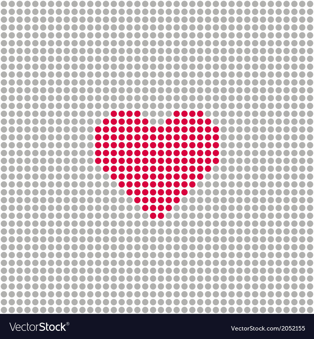 Square with grey circles and red heart vector