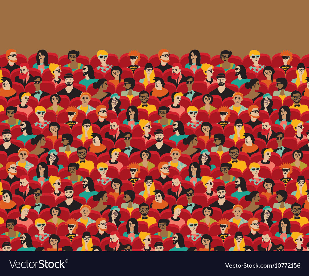 Auditorium audience hall large group people vector