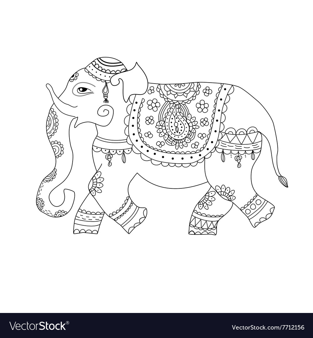 Elephant in ethnic style vector
