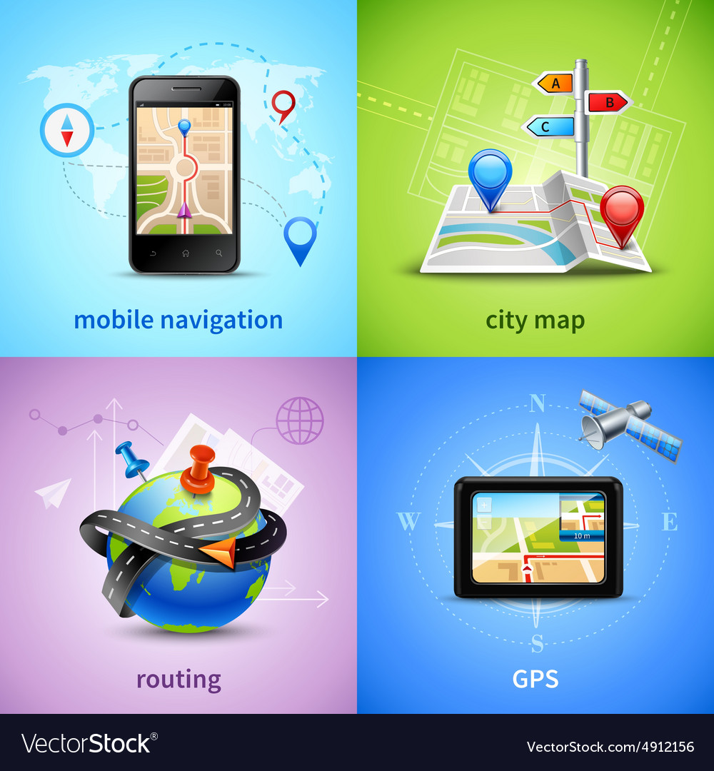 Navigation concept set vector