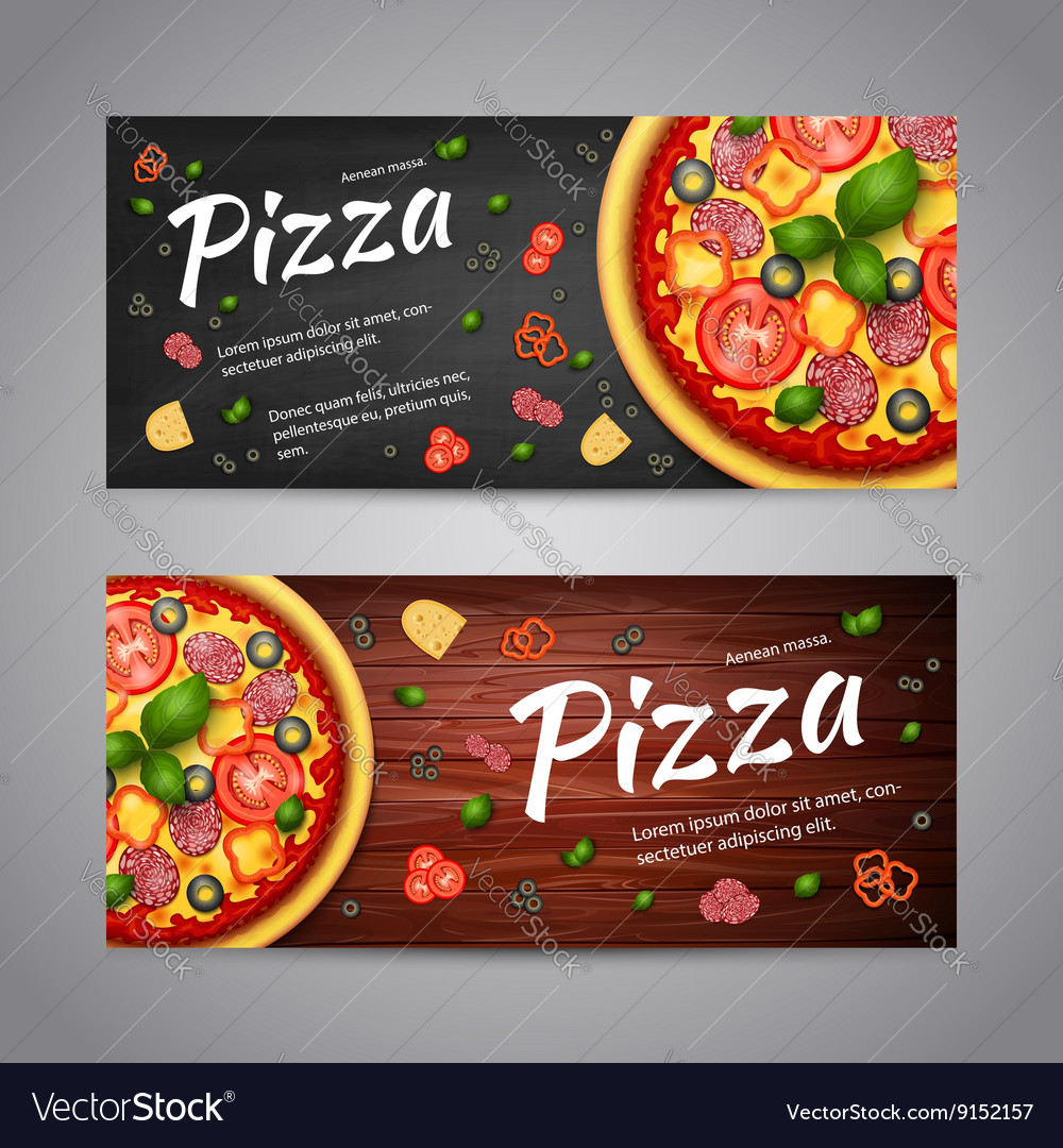 Two realistic pizza flyer banners vector