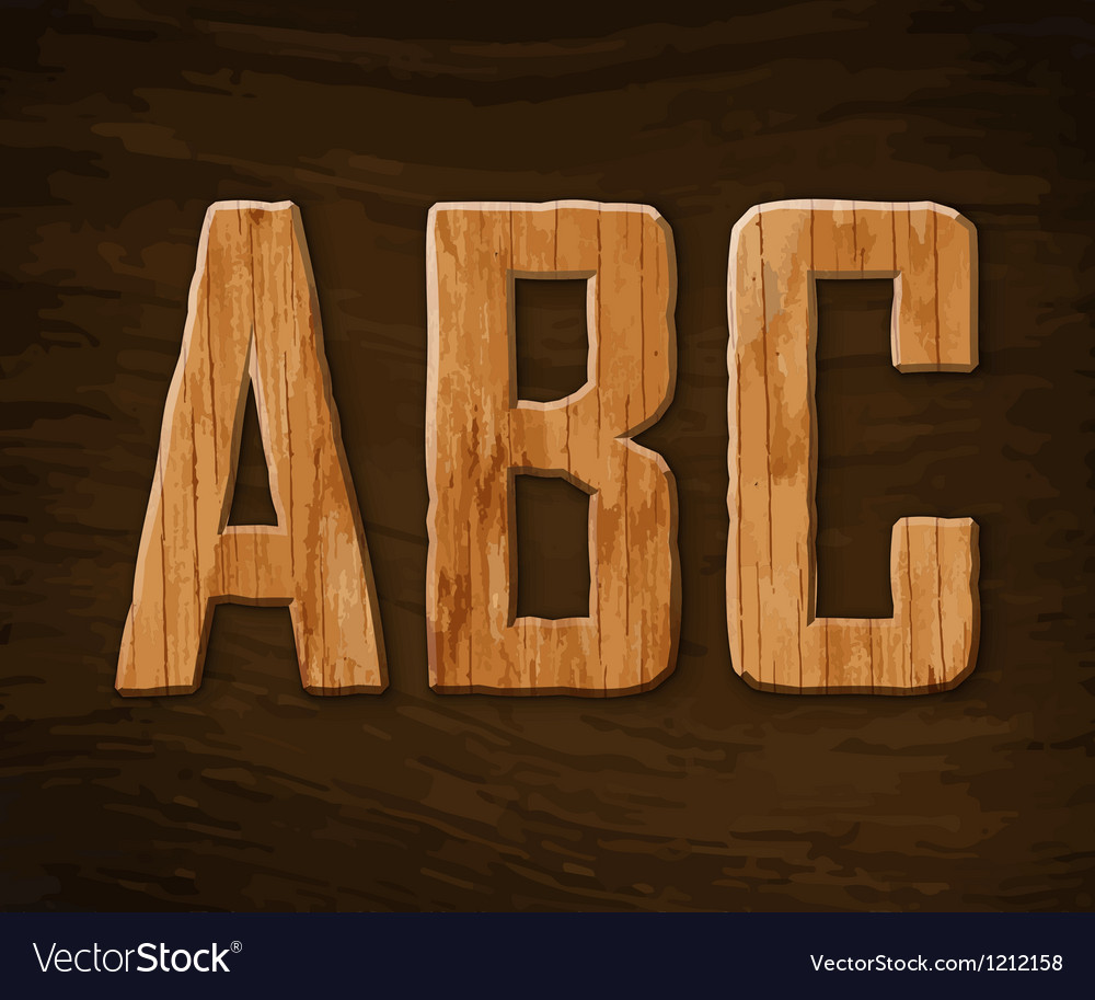 Alphabet made of wood abc vector