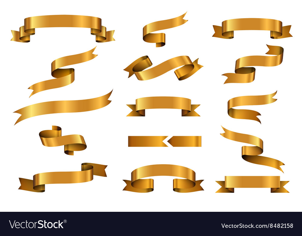 Gold glossy ribbon banners set vector