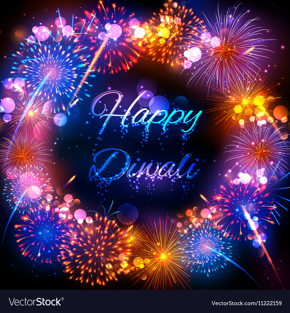 Firecracker on happy diwali holiday background for vector