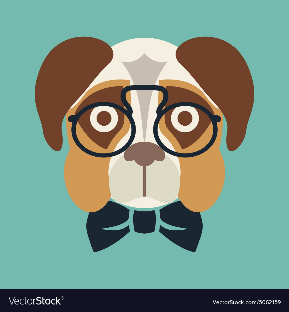 Hipster dog resize vector