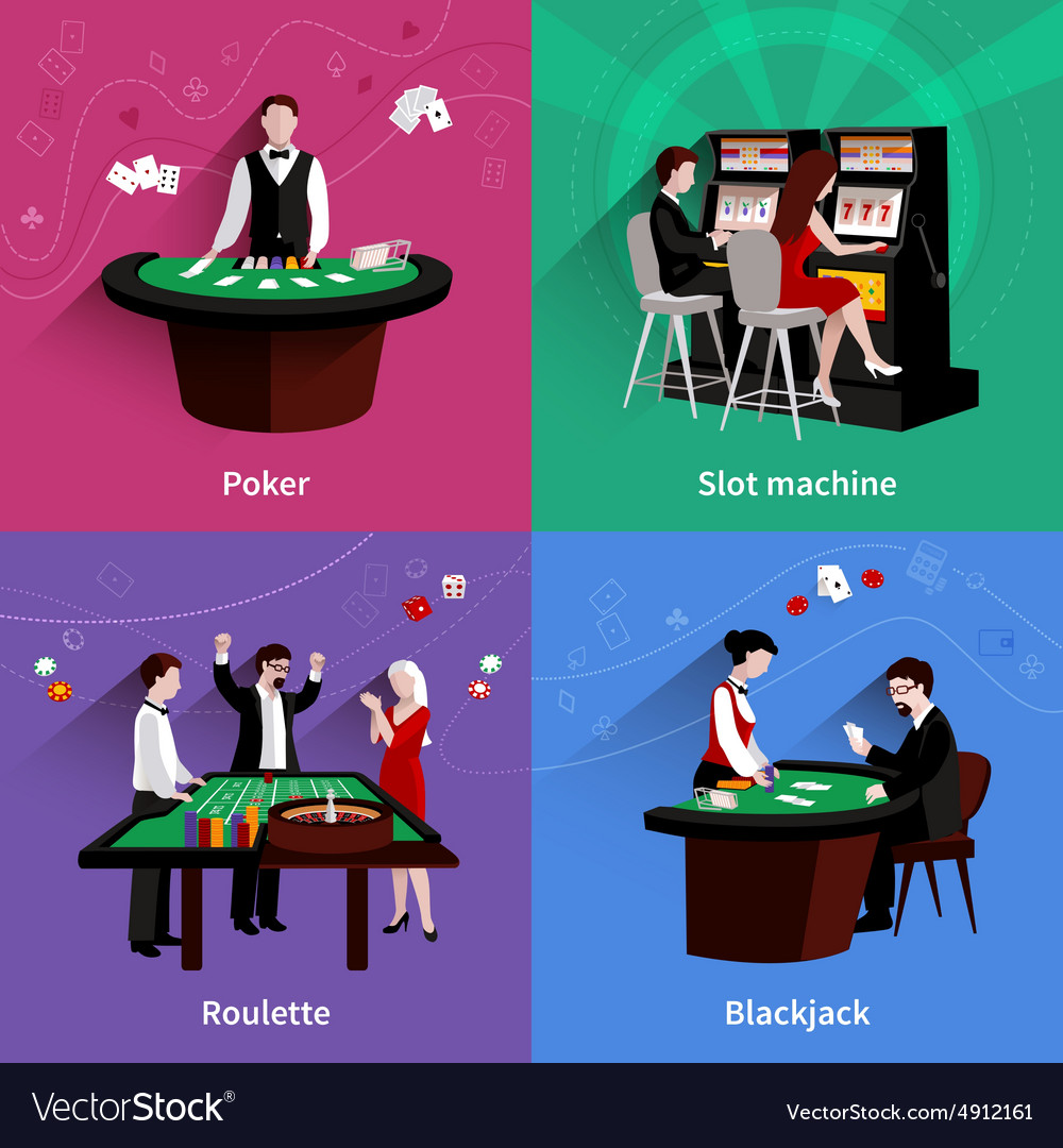 People in casino set vector