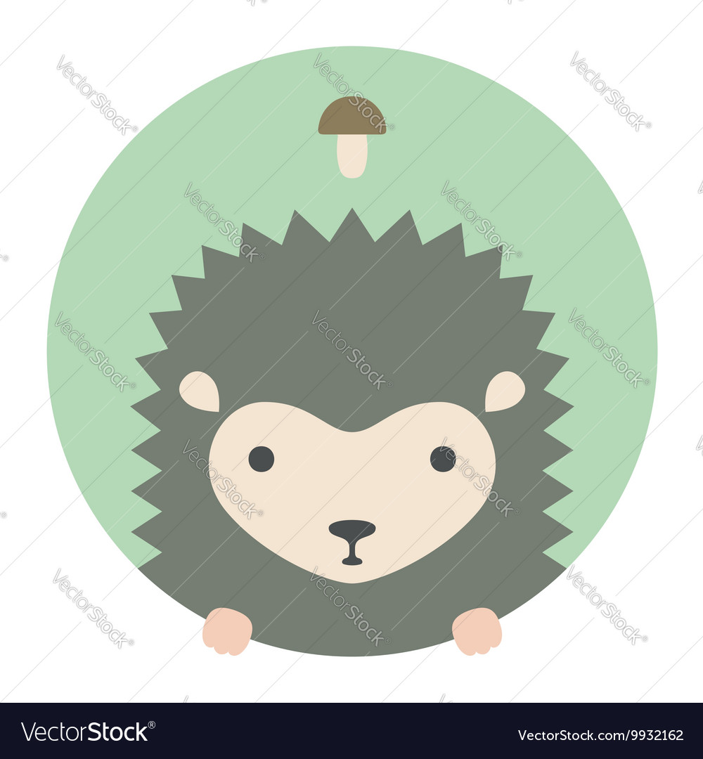 Animal set portrait in flat graphics  hedgehog vector