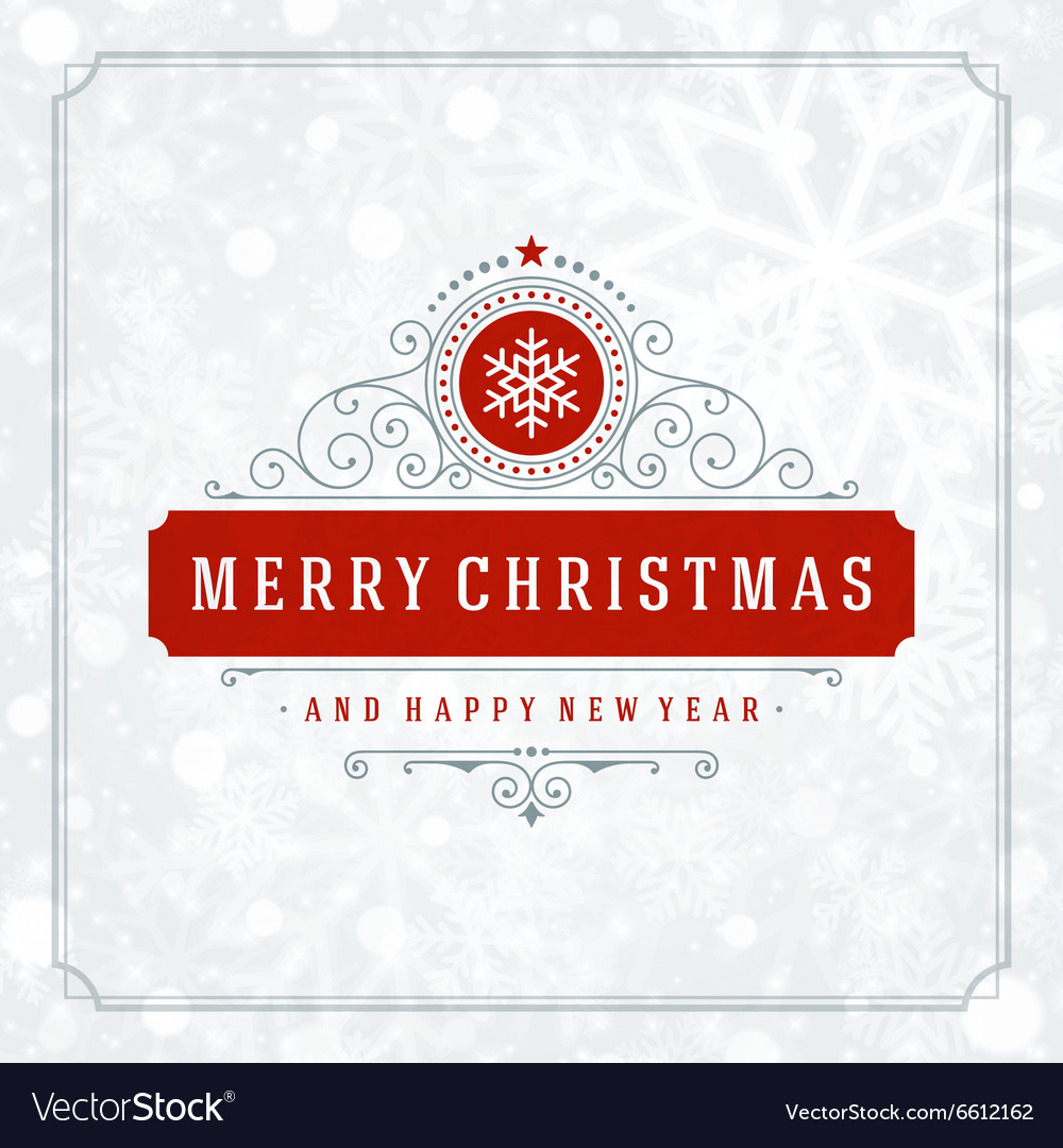 Christmas greeting card lights and snowflakes vector