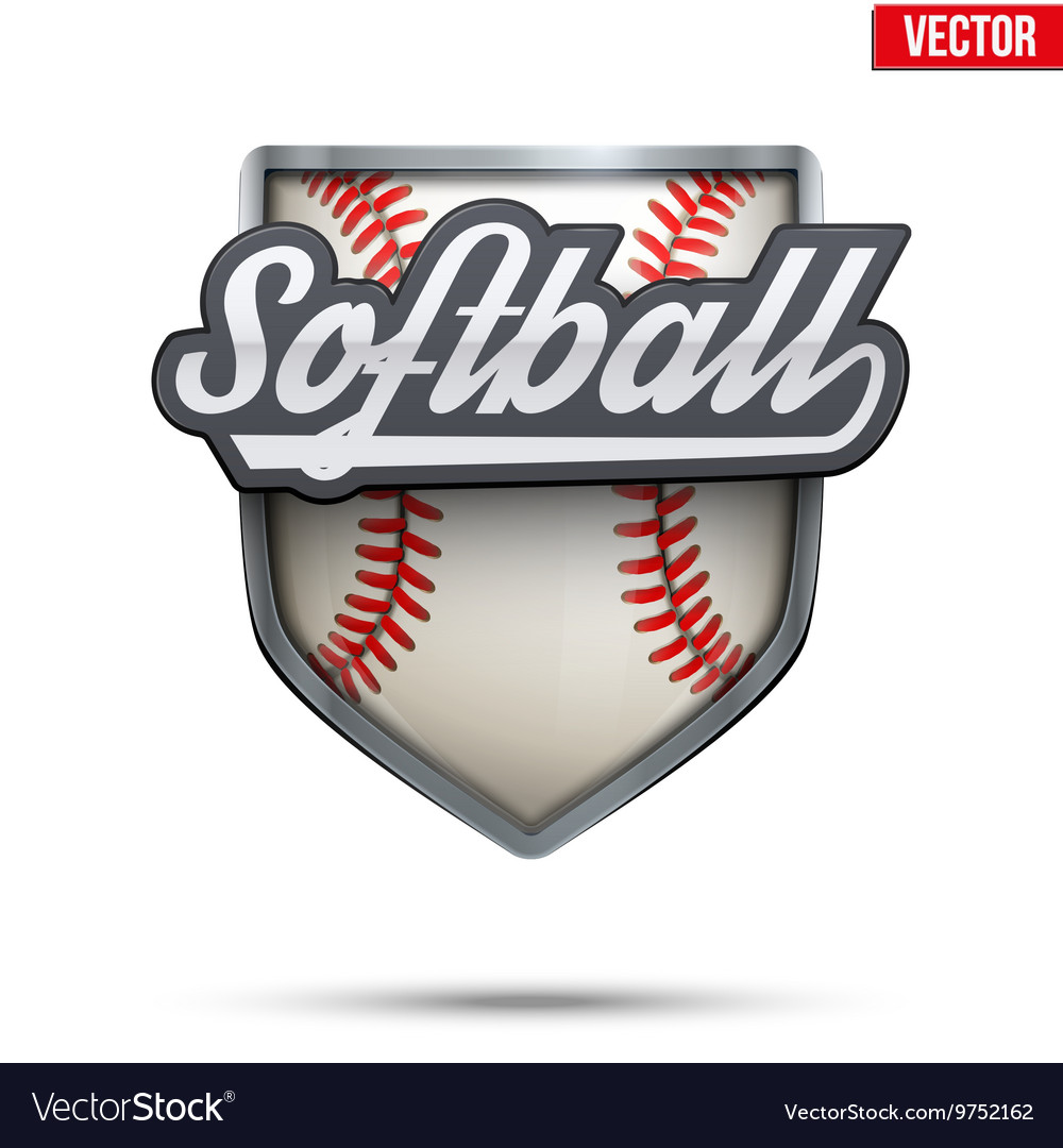 Premium symbol of softball label vector