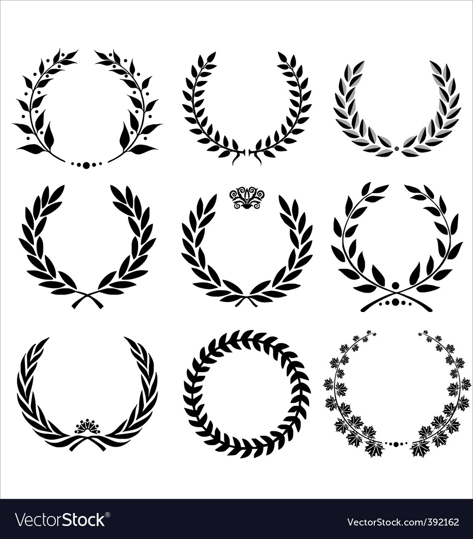 Set  laurel wreath vector