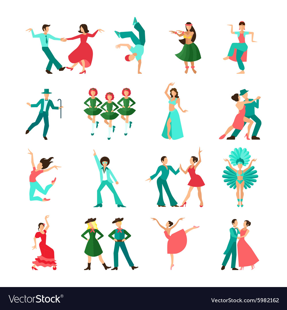 Various style dancing man icons vector