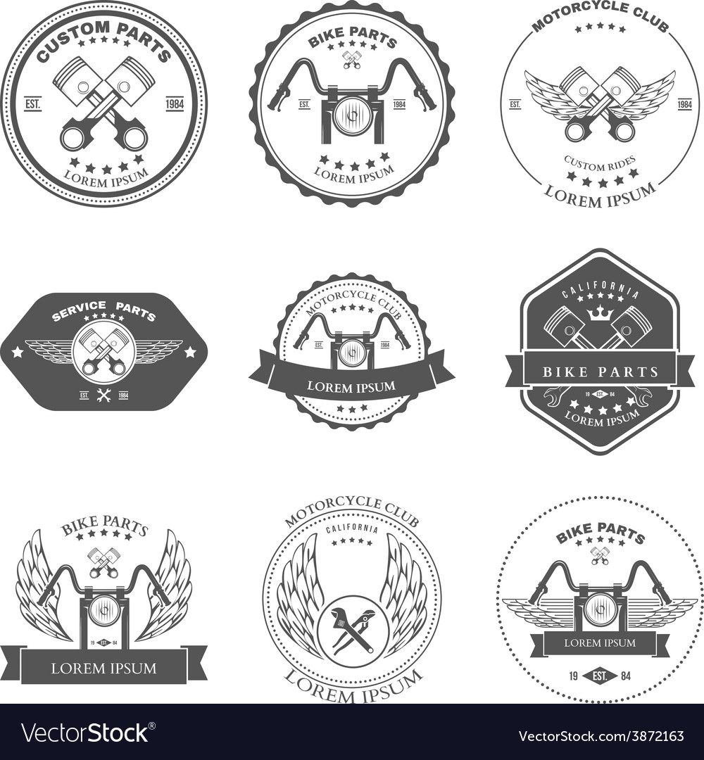 Bikers repair service emblems collection vector