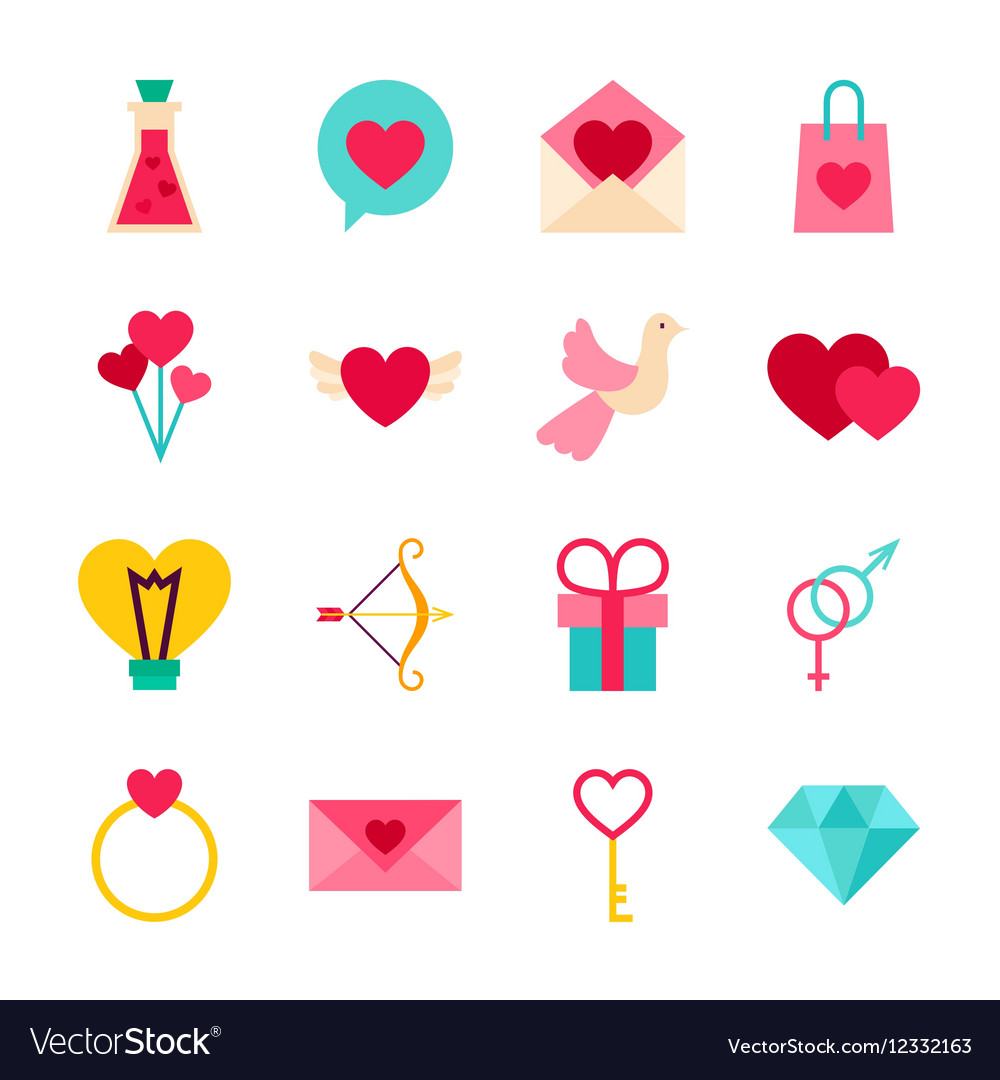 Happy valentine day objects vector