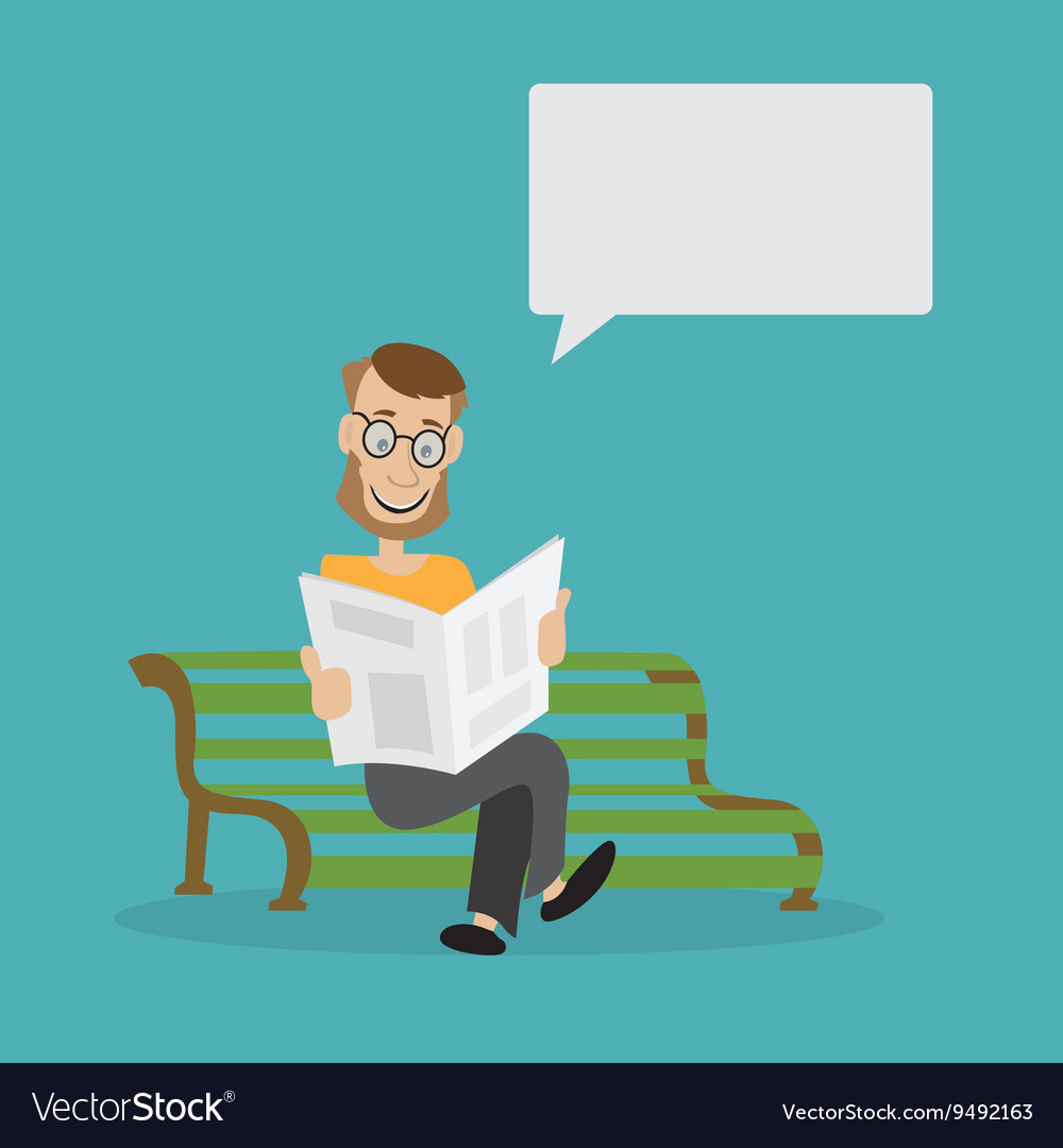 Man on the bench reading a newspaper vector