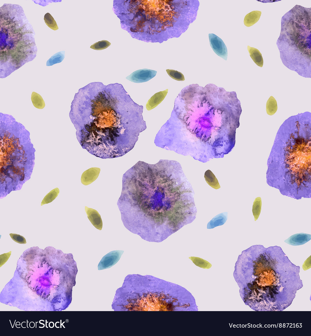 Vintage watercolor flower pattern white backdrop vector