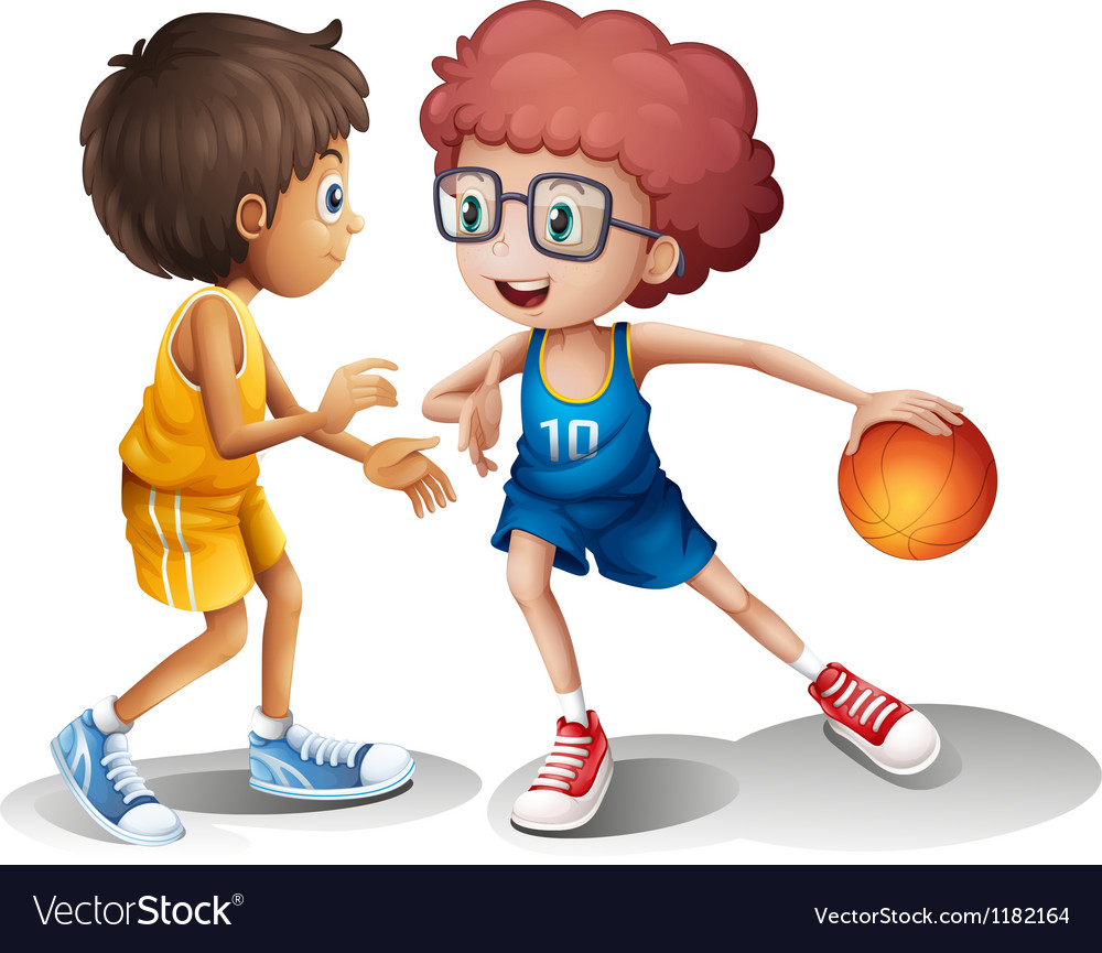 Cartoon kids basketball vector