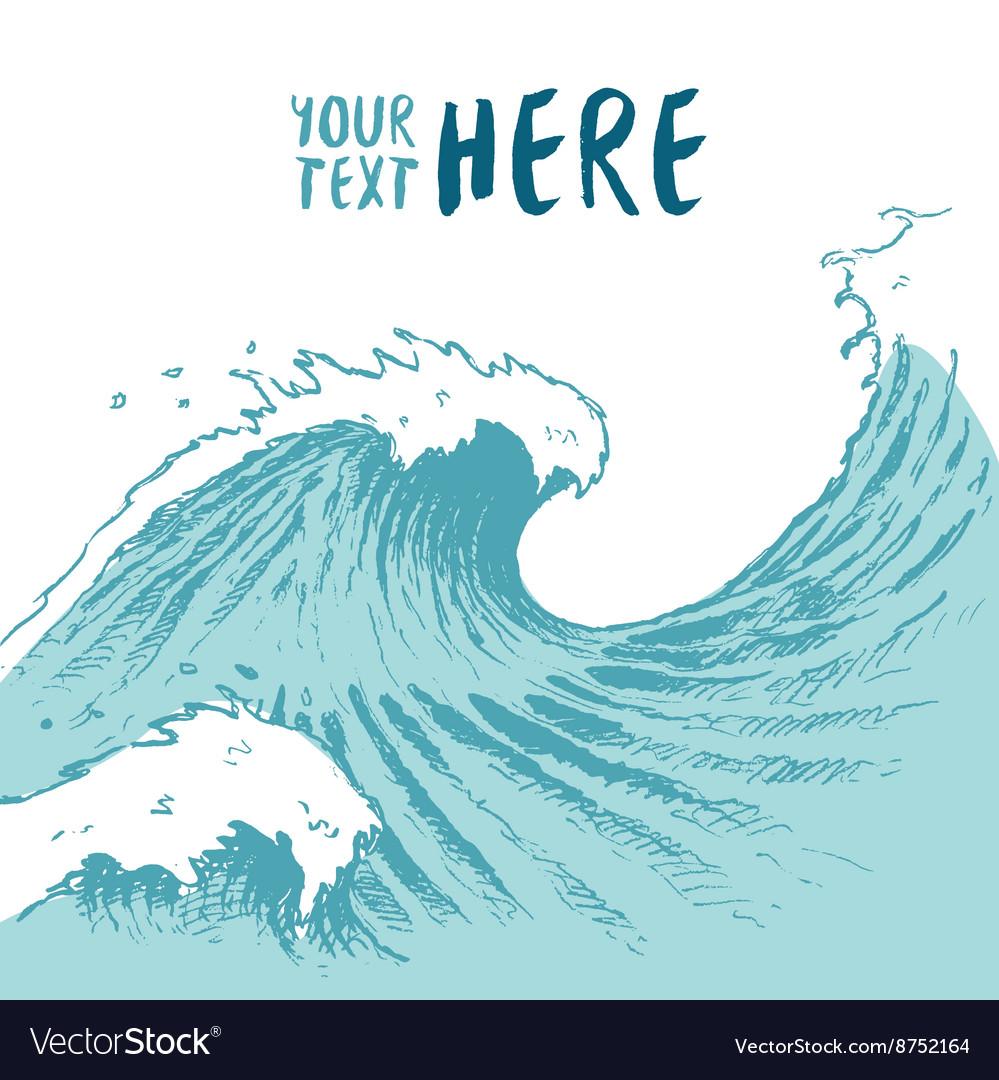 Drawn blue waves background summer sea place text vector