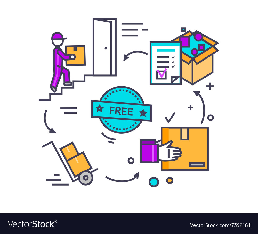 Free shipping concept icon flat design vector