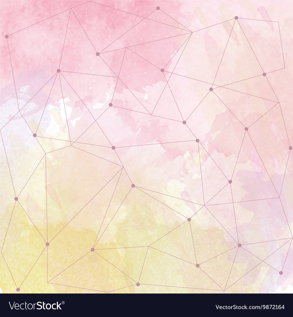 Watercolor background with triangle design vector