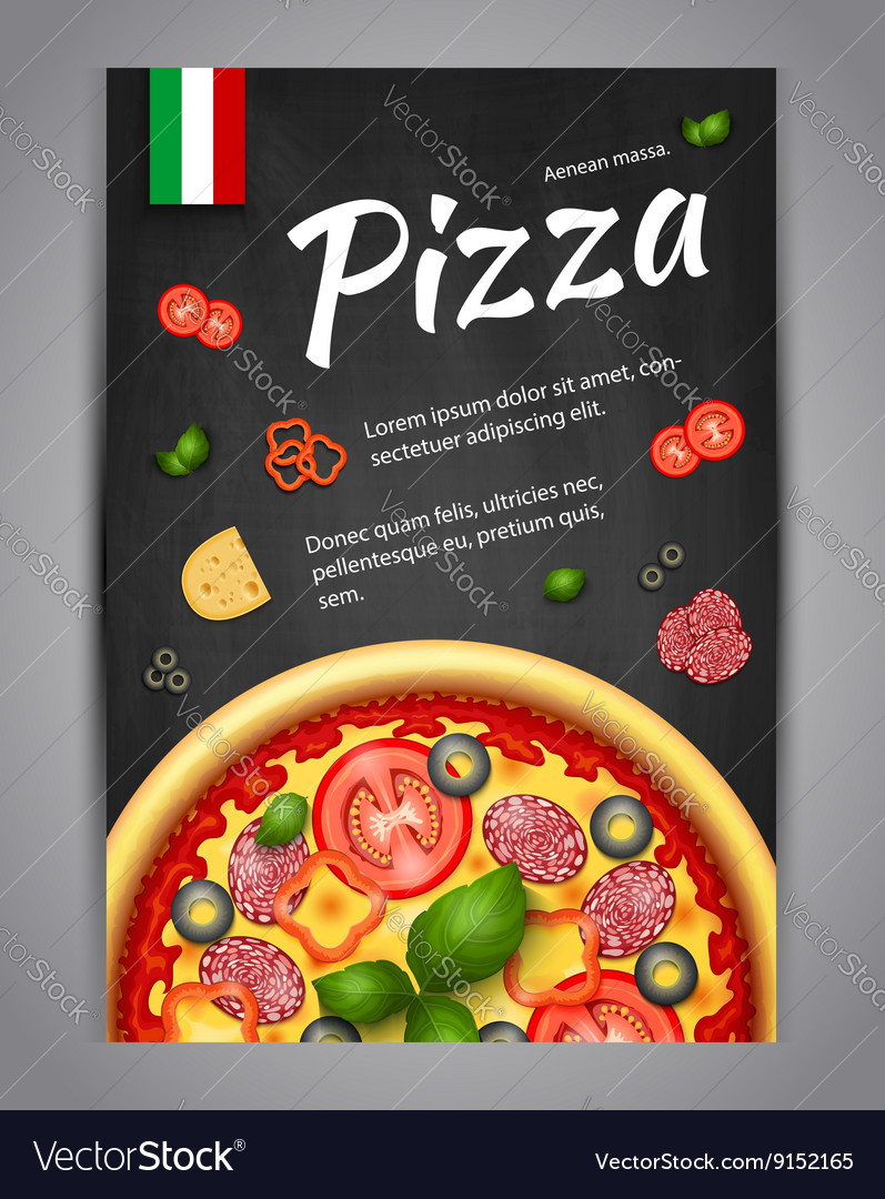 Realistic vertical pizza blackboard flyer vector
