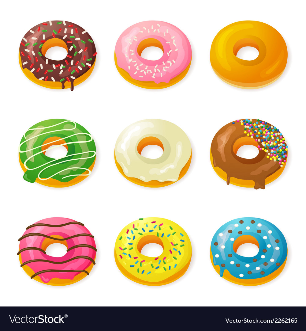 Set of tasty donuts vector