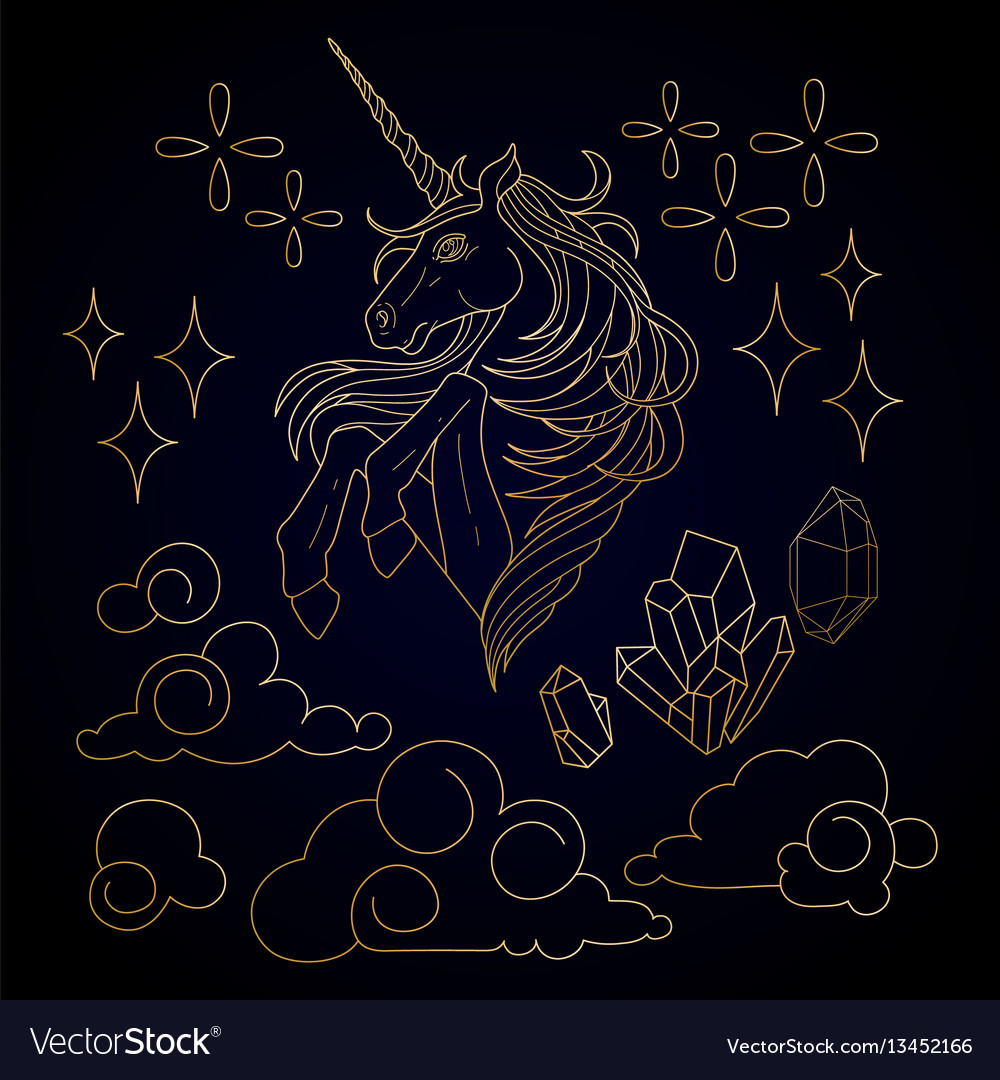 Cute graphic unicorn vector