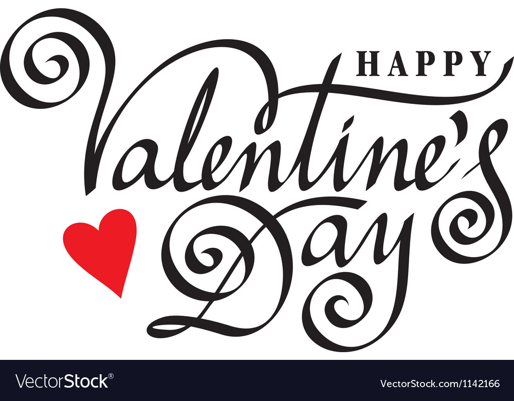 Happy valentine day hand lettering vector
