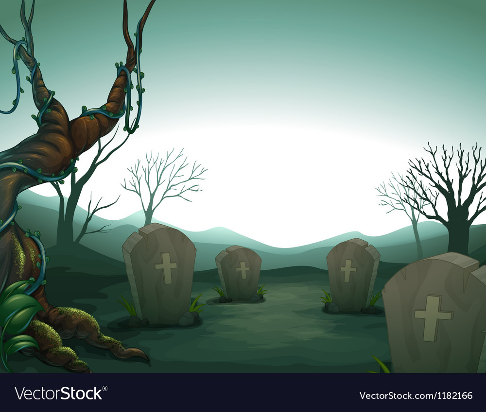 Night graveyard scene vector