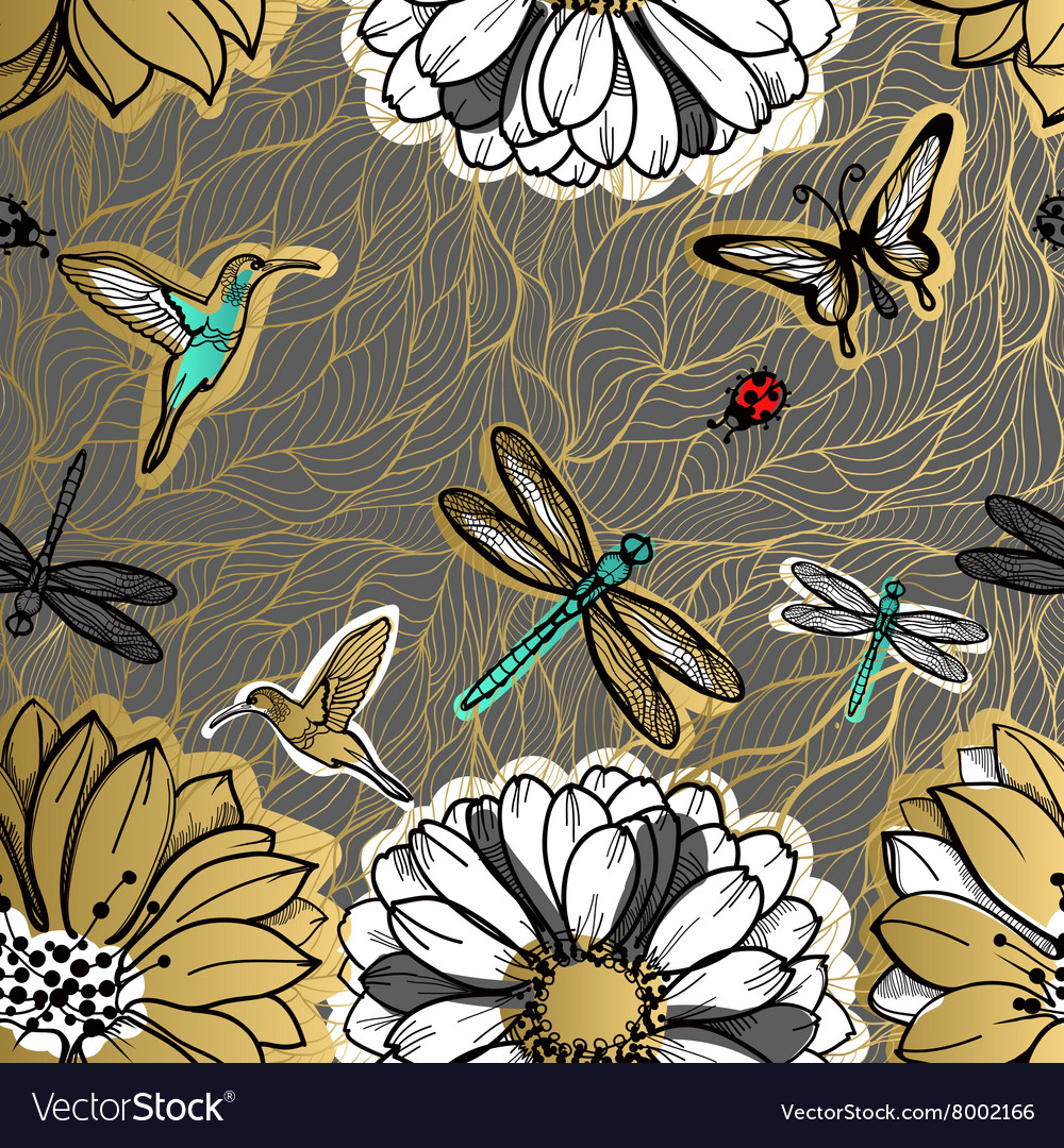 Seamless pattern flowers butterflies hummingbirds vector
