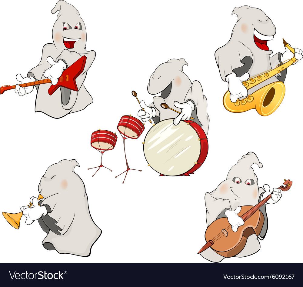 A set of cute ghosts vector