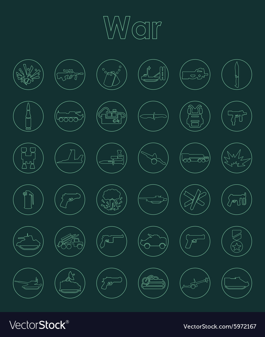 Set of war simple icons vector