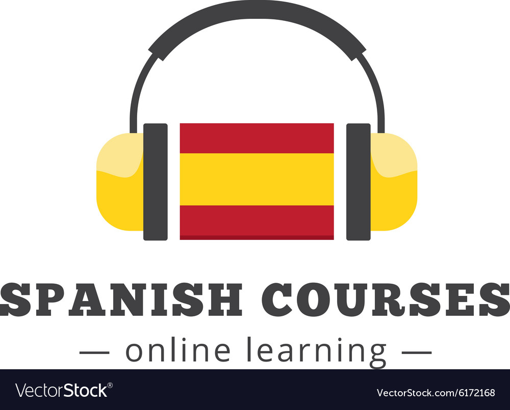 Spanish courses logo concept with flag and vector