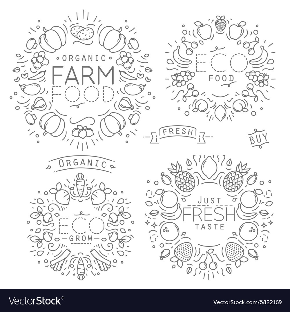 Fruits vegetables monograms vector