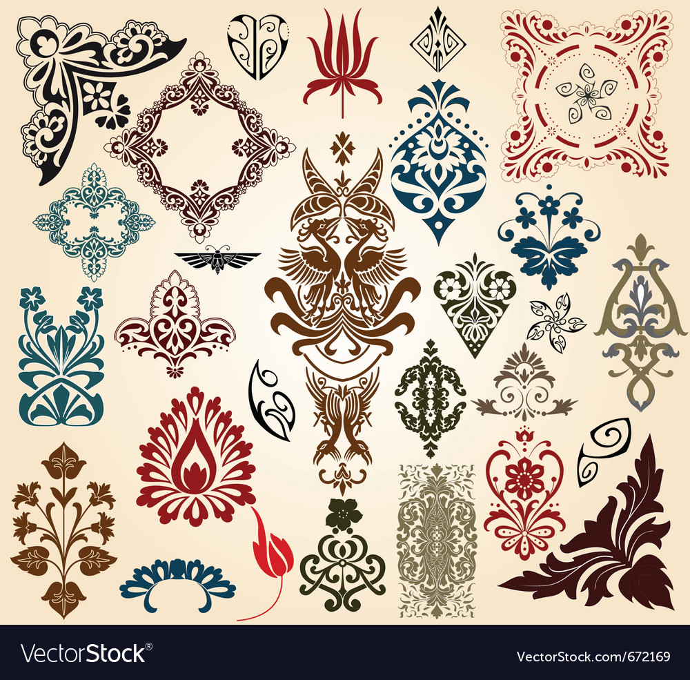 Retro floral design elements vector