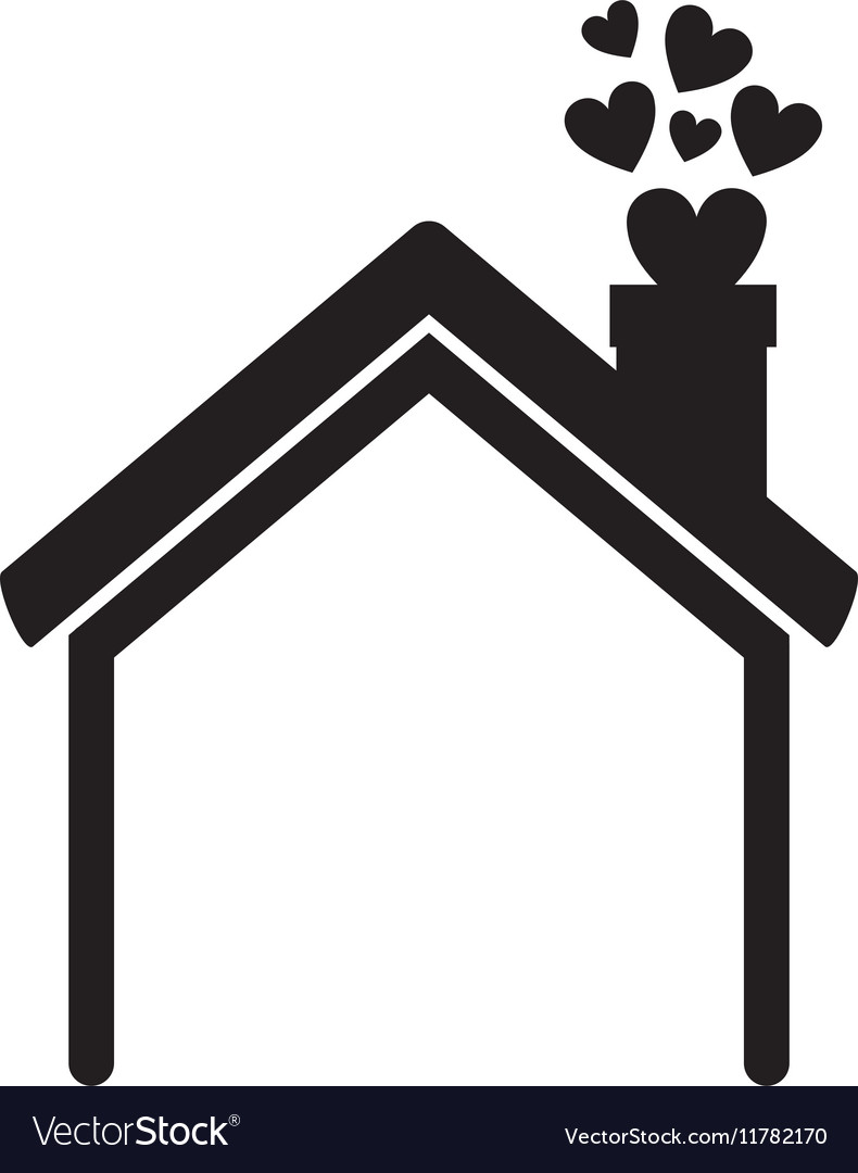 Black silhouette house with chimney and hearts vector